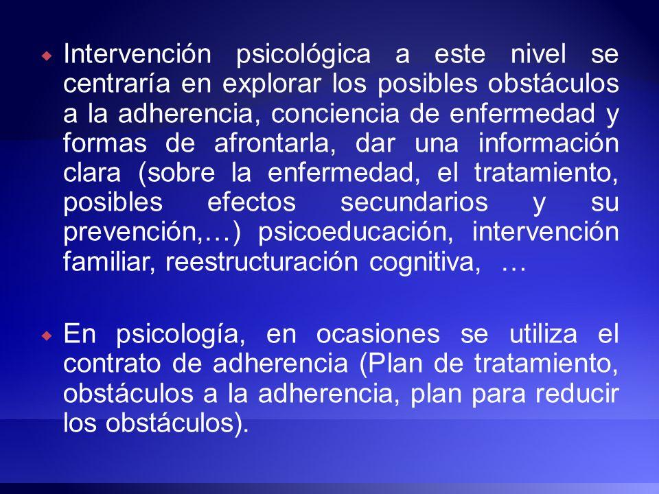 Intervención psicológica a este nivel se centraría en explorar los posibles obstáculos a la adherencia, conciencia de enfermedad y formas de afrontarl