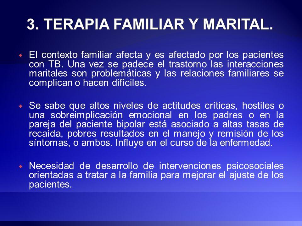 El contexto familiar afecta y es afectado por los pacientes con TB. Una vez se padece el trastorno las interacciones maritales son problemáticas y las