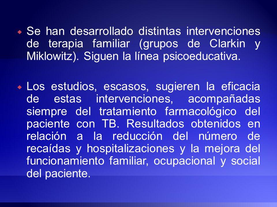 Se han desarrollado distintas intervenciones de terapia familiar (grupos de Clarkin y Miklowitz). Siguen la línea psicoeducativa. Los estudios, escaso