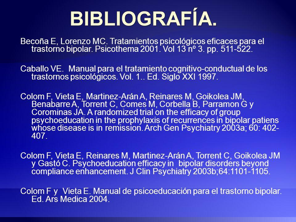 Becoña E, Lorenzo MC. Tratamientos psicológicos eficaces para el trastorno bipolar. Psicothema 2001. Vol 13 nº 3. pp. 511-522. Caballo VE. Manual para