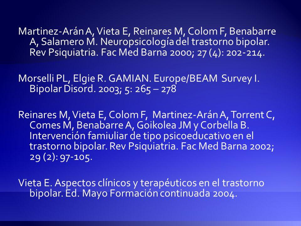Martinez-Arán A, Vieta E, Reinares M, Colom F, Benabarre A, Salamero M. Neuropsicología del trastorno bipolar. Rev Psiquiatria. Fac Med Barna 2000; 27