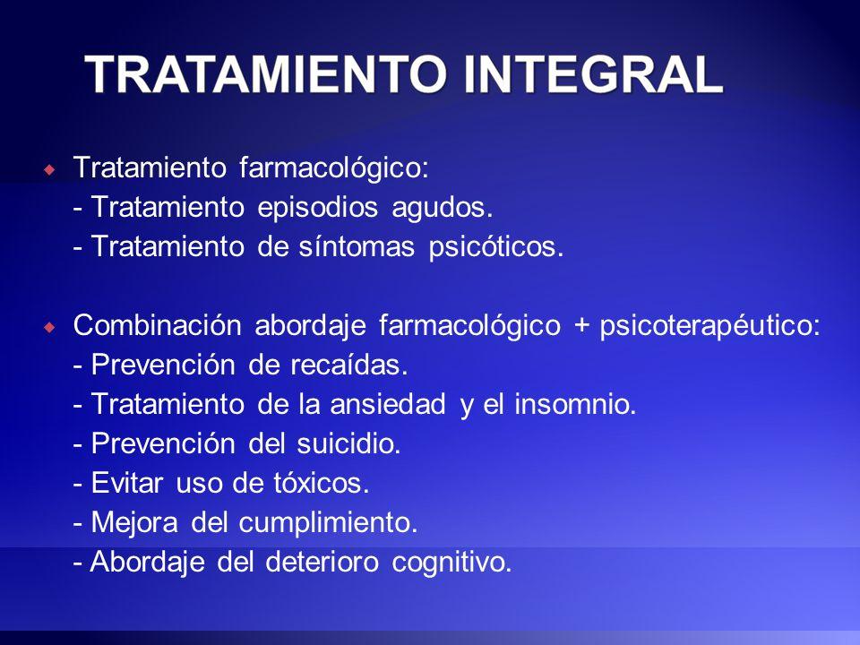 Tratamiento farmacológico: - Tratamiento episodios agudos. - Tratamiento de síntomas psicóticos. Combinación abordaje farmacológico + psicoterapéutico