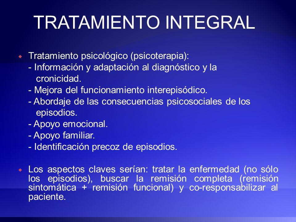Tratamiento psicológico (psicoterapia): - Información y adaptación al diagnóstico y la cronicidad. - Mejora del funcionamiento interepisódico. - Abord
