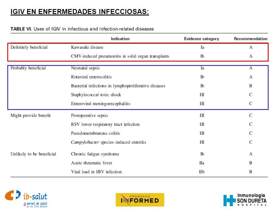 Inmunología IGIV EN ENFERMEDADES INFECCIOSAS:
