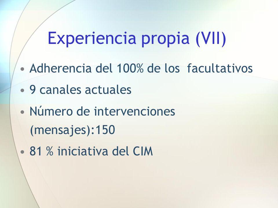 Experiencia propia (VII) Adherencia del 100% de los facultativos 9 canales actuales Número de intervenciones (mensajes):150 81 % iniciativa del CIM
