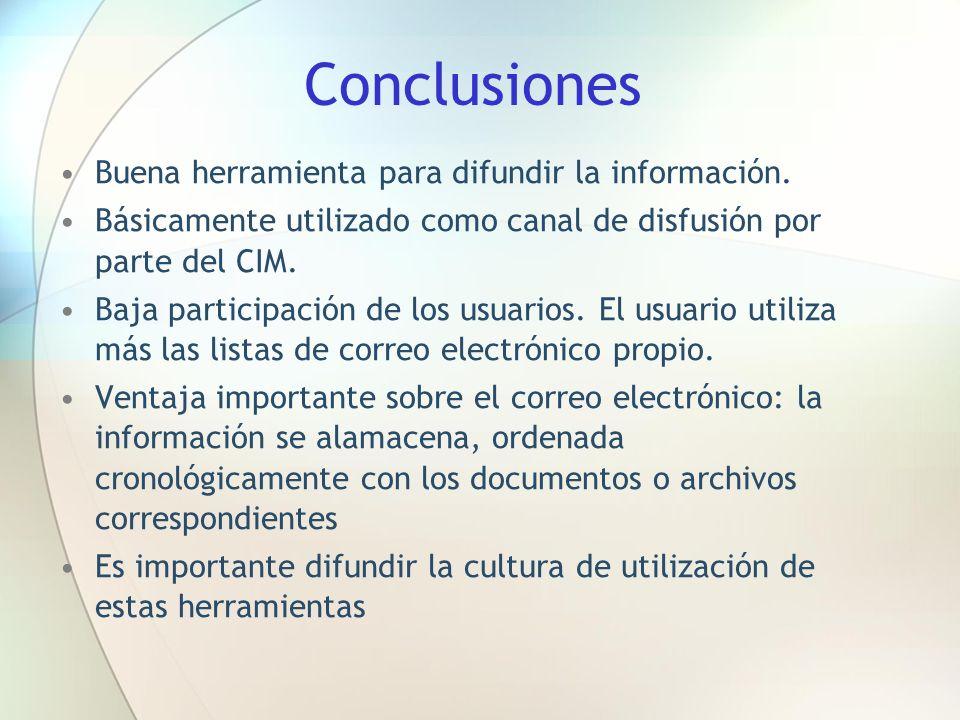 Conclusiones Buena herramienta para difundir la información. Básicamente utilizado como canal de disfusión por parte del CIM. Baja participación de lo