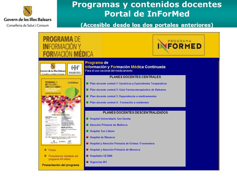 Programas y contenidos docentes Portal de InForMed (Accesible desde los dos portales anteriores)