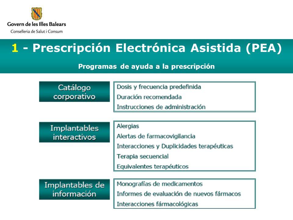 1 - Prescripción Electrónica Asistida (PEA) Programas de ayuda a la prescripción I Reunión del Comité Asesor del Programa InForMed Ibsalut 21 de junio de 2006