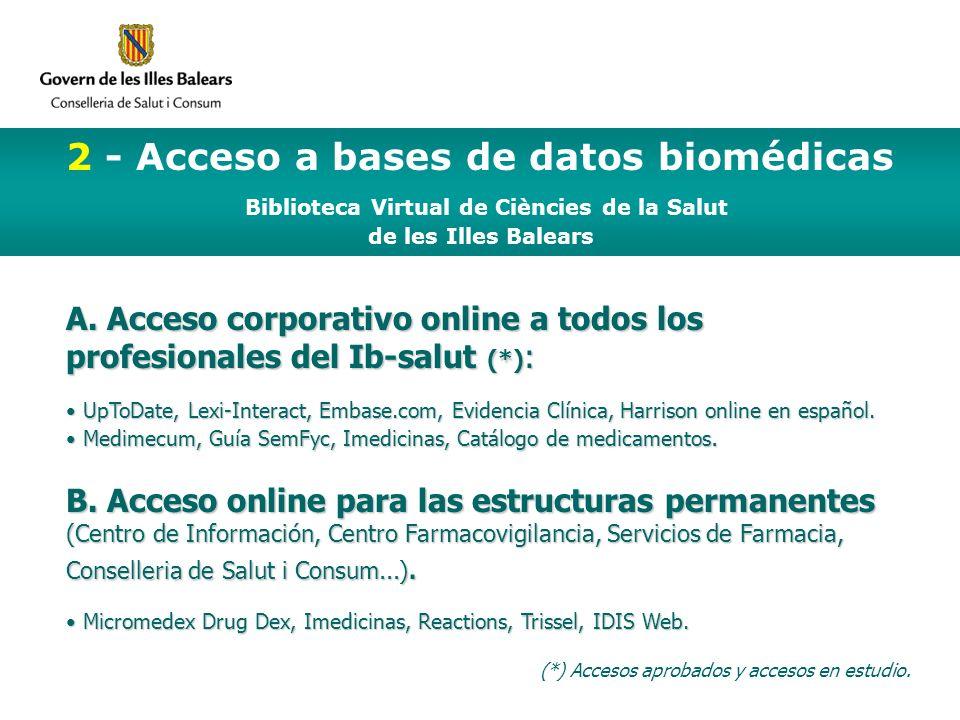 2 - Acceso a bases de datos biomédicas Biblioteca Virtual de Ciències de la Salut de les Illes Balears A.