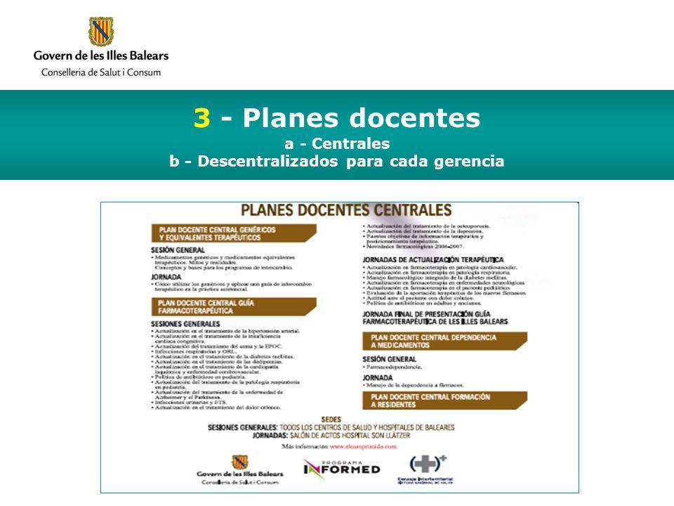 3 - Planes docentes a - Centrales b - Descentralizados para cada gerencia