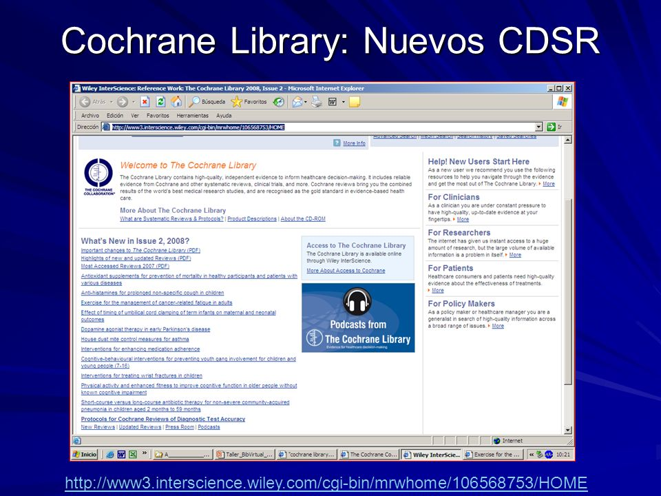 Cochrane Library: Nuevos CDSR http://www3.interscience.wiley.com/cgi-bin/mrwhome/106568753/HOME