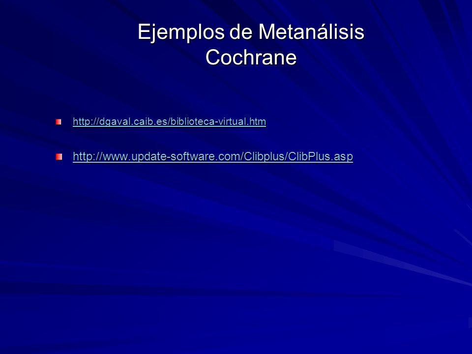 Ejemplos de Metanálisis Cochrane http://dgaval.caib.es/biblioteca-virtual.htm http://www.update-software.com/Clibplus/ClibPlus.asp