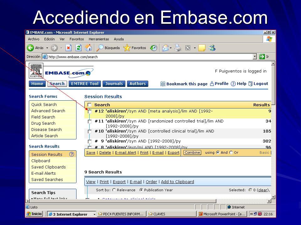 Accediendo en Embase.com