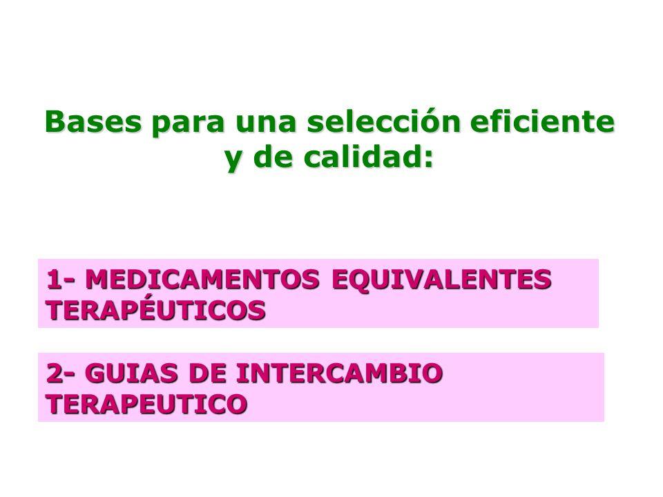 Bases para una selección eficiente y de calidad: 1- MEDICAMENTOS EQUIVALENTES TERAPÉUTICOS 2- GUIAS DE INTERCAMBIO TERAPEUTICO