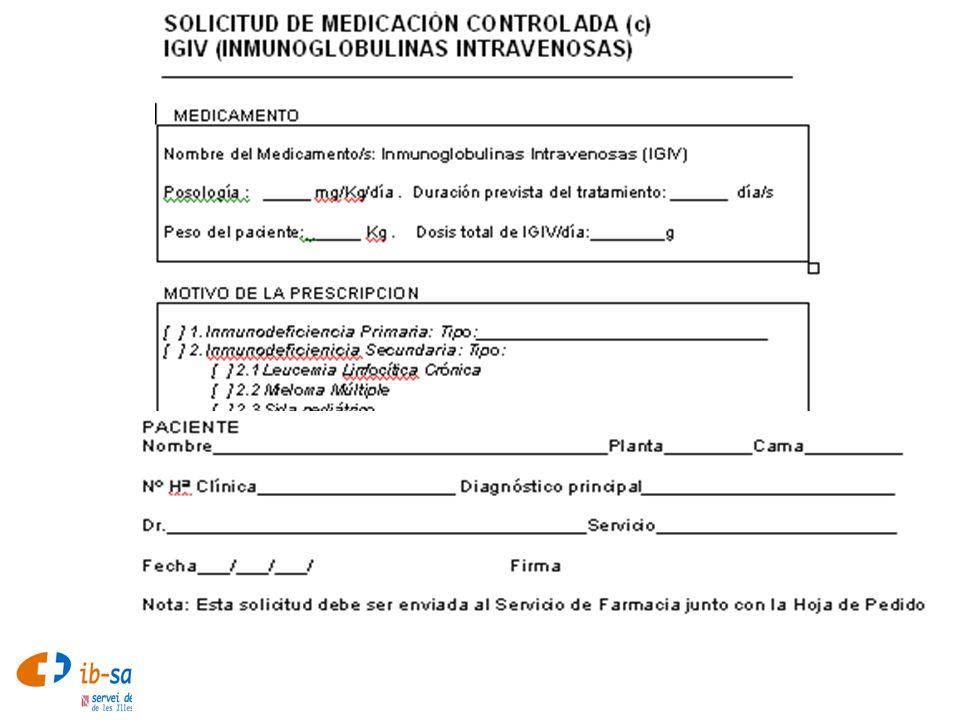 InmunologíaPresentación Endobulin SD 2500 / 5000 / 10000 mg liofilizado (disolvente 50/100/200 ml)Endobulin SD 2500 / 5000 / 10000 mg liofilizado (disolvente 50/100/200 ml) Flebogamma IV 0.5 / 2.5 / 5 / 10 g líquida pasterurizada (en 10/50/100/200 ml)Flebogamma IV 0.5 / 2.5 / 5 / 10 g líquida pasterurizada (en 10/50/100/200 ml) Gammagard SD 2.5 / 5 liofilizado (disolvente 50/100 ml)Gammagard SD 2.5 / 5 liofilizado (disolvente 50/100 ml)