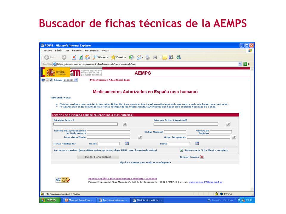 Buscador de fichas técnicas de la AEMPS