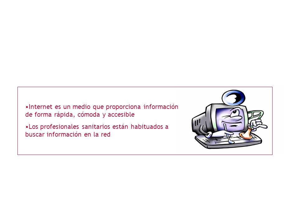 Internet es un medio que proporciona información de forma rápida, cómoda y accesible Los profesionales sanitarios están habituados a buscar información en la red
