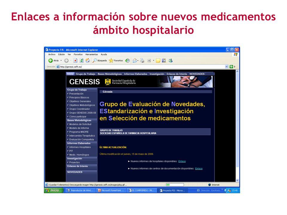 Enlaces a información sobre nuevos medicamentos ámbito hospitalario