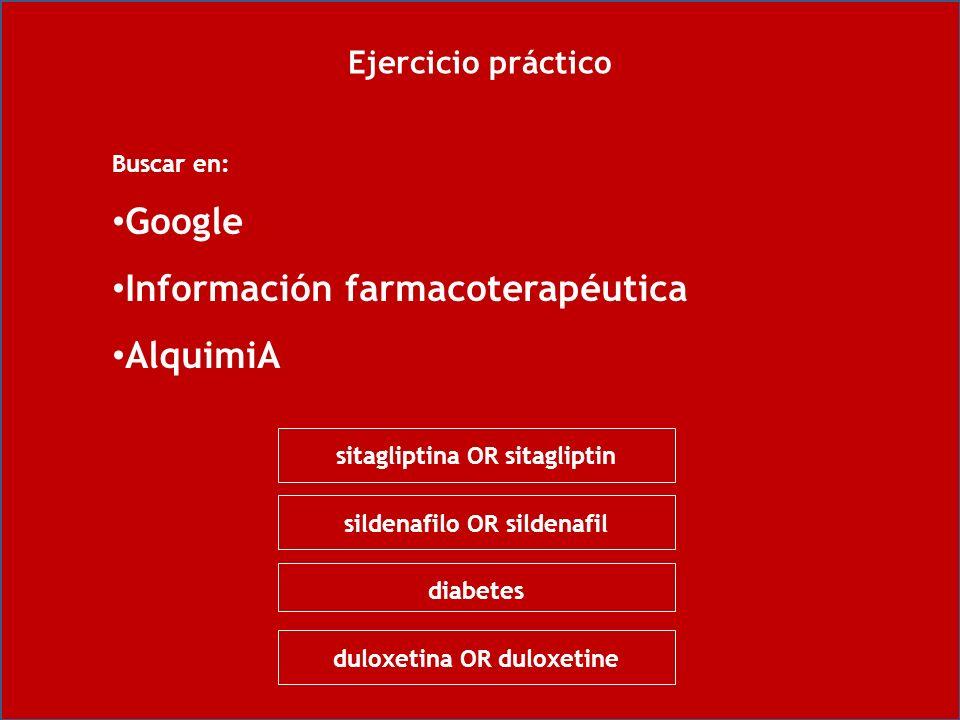 Ejercicio práctico Buscar en: Google Información farmacoterapéutica AlquimiA sitagliptina OR sitagliptin sildenafilo OR sildenafil diabetes duloxetina OR duloxetine