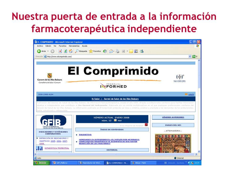 Nuestra puerta de entrada a la información farmacoterapéutica independiente