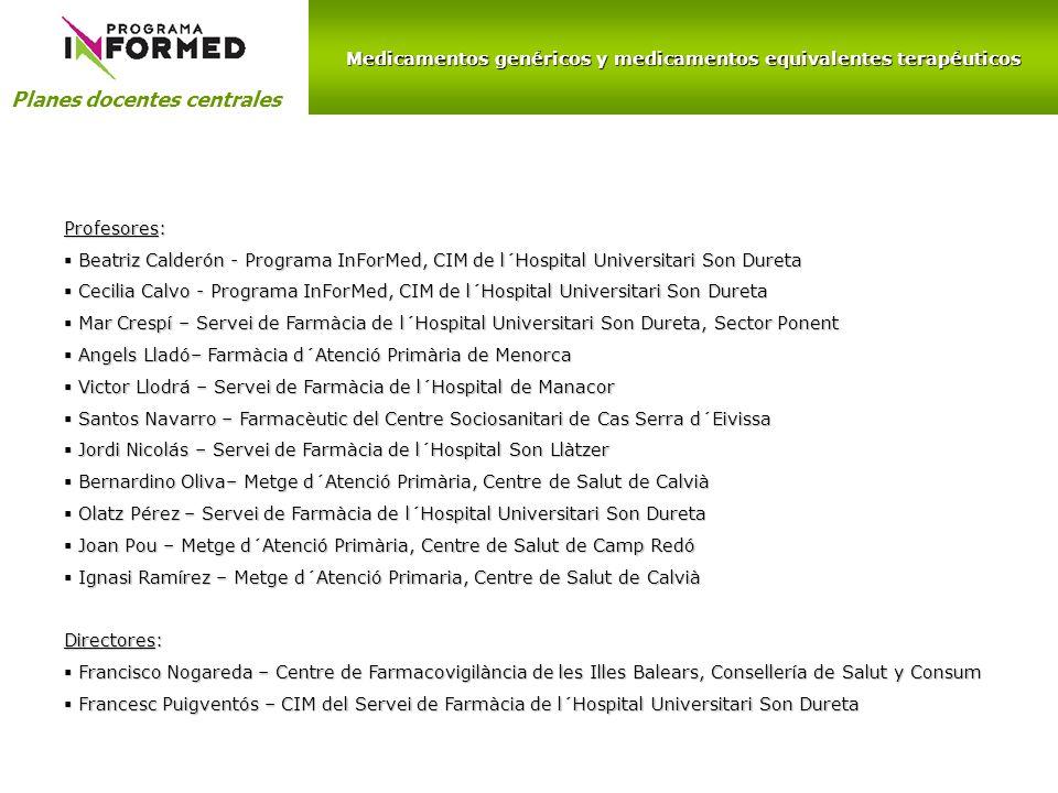 Medicamentos genéricos y medicamentos equivalentes terapéuticos Planes docentes centrales Profesores: Beatriz Calderón - Programa InForMed, CIM de l´H
