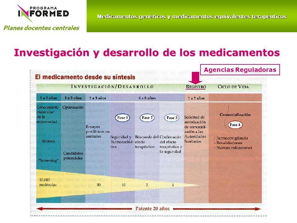 Medicamentos genéricos y medicamentos equivalentes terapéuticos Planes docentes centrales Investigación y desarrollo de los medicamentos Agencias Regu