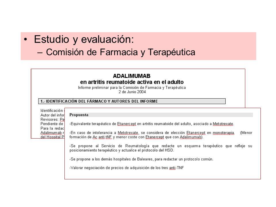 Estudio y evaluación: –Comisión de Farmacia y Terapéutica
