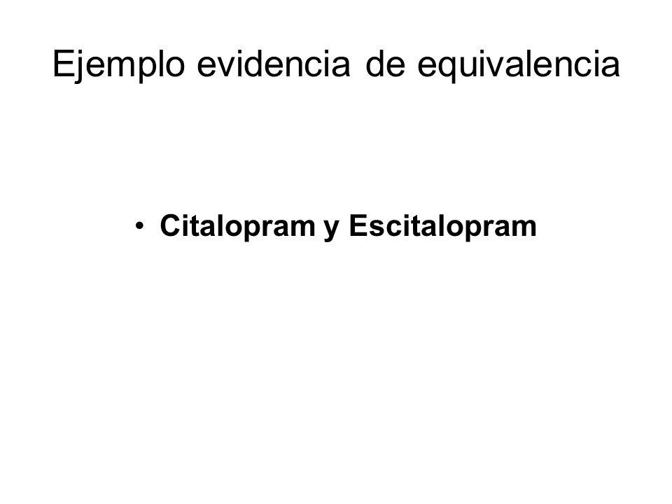 Ejemplo evidencia de equivalencia Citalopram y Escitalopram