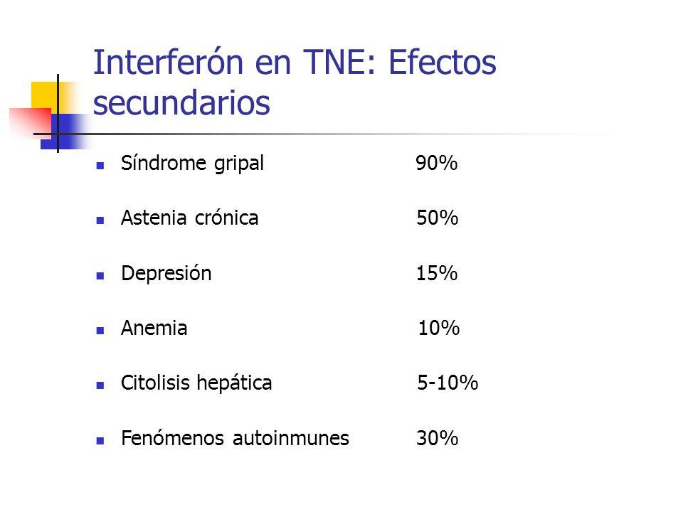 Interferón en TNE: Efectos secundarios Síndrome gripal 90% Astenia crónica 50% Depresión 15% Anemia 10% Citolisis hepática 5-10% Fenómenos autoinmunes