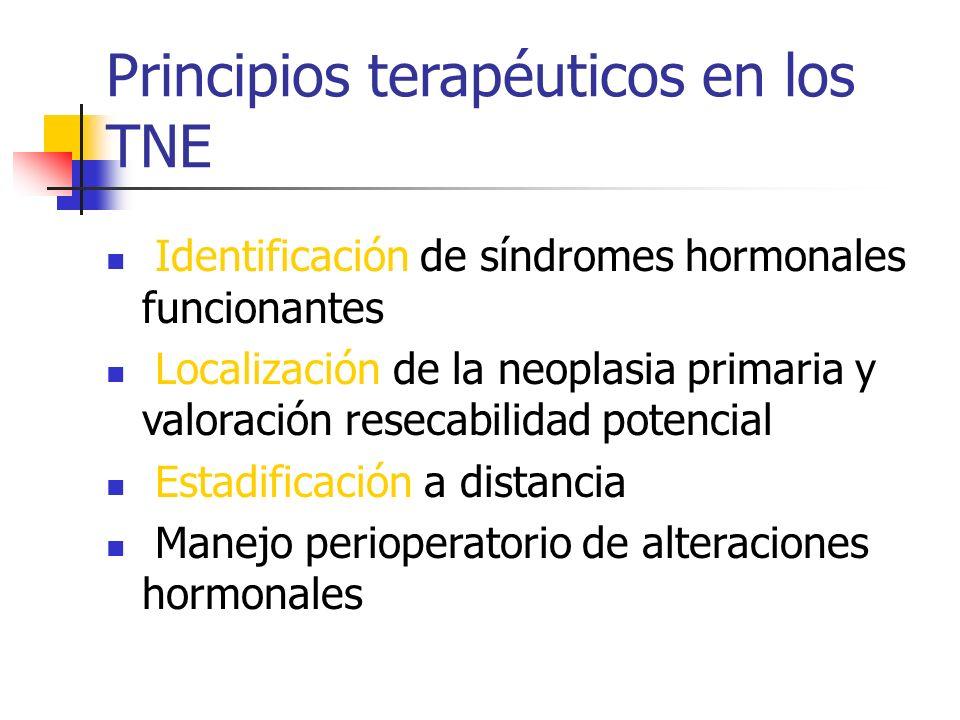 Principios terapéuticos en los TNE Identificación de síndromes hormonales funcionantes Localización de la neoplasia primaria y valoración resecabilida
