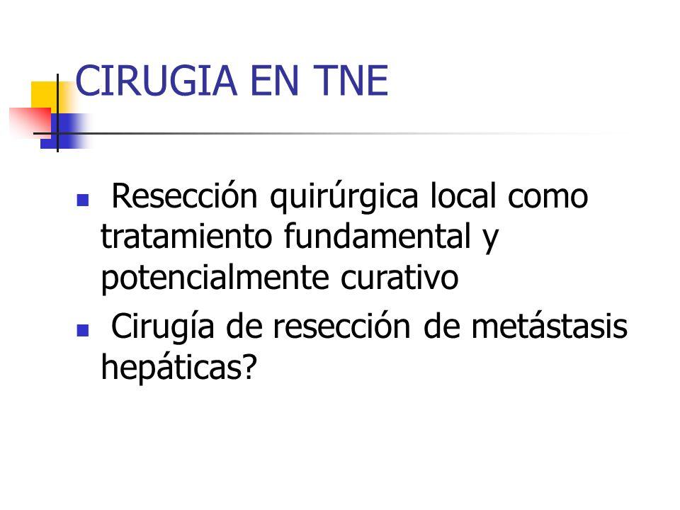CIRUGIA EN TNE Resección quirúrgica local como tratamiento fundamental y potencialmente curativo Cirugía de resección de metástasis hepáticas?