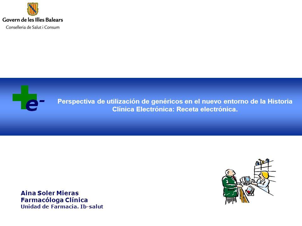 Perspectiva de utilización de genéricos en el nuevo entorno de la Historia Clínica Electrónica: Receta electrónica. Aina Soler Mieras Farmacóloga Clín