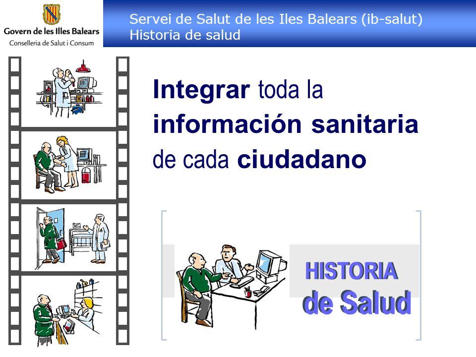 Integrar toda la información sanitaria de cada ciudadano HISTORIA de Salud Servei de Salut de les Iles Balears (ib-salut) Historia de salud