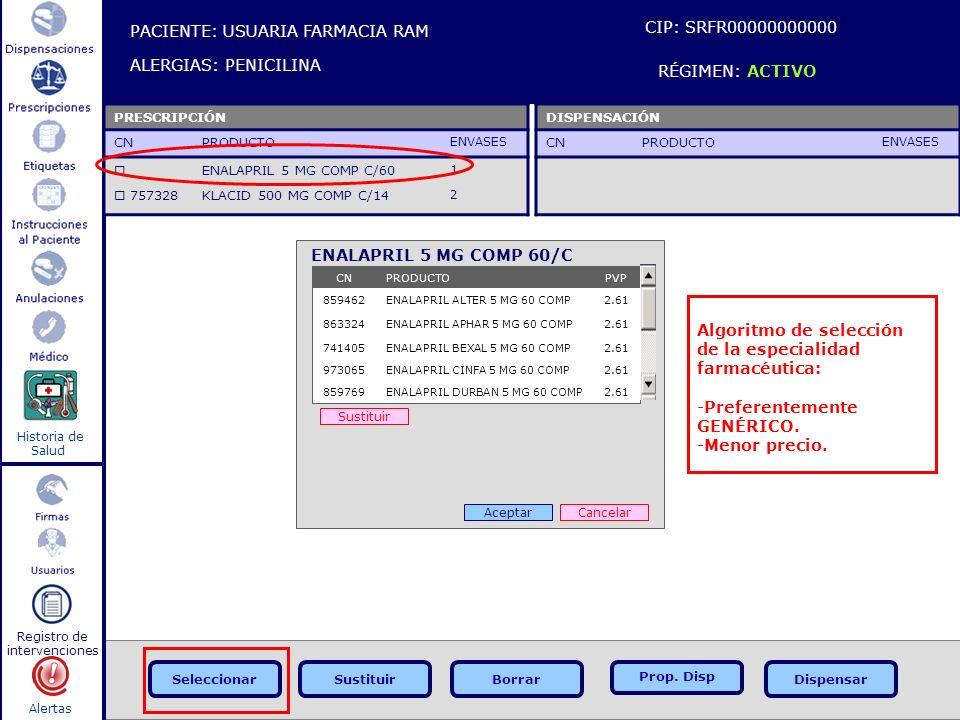 Alertas Historia de Salud Registro de intervenciones PACIENTE: USUARIA FARMACIA RAM ALERGIAS: PENICILINA CIP: SRFR00000000000 RÉGIMEN: ACTIVO DISPENSA