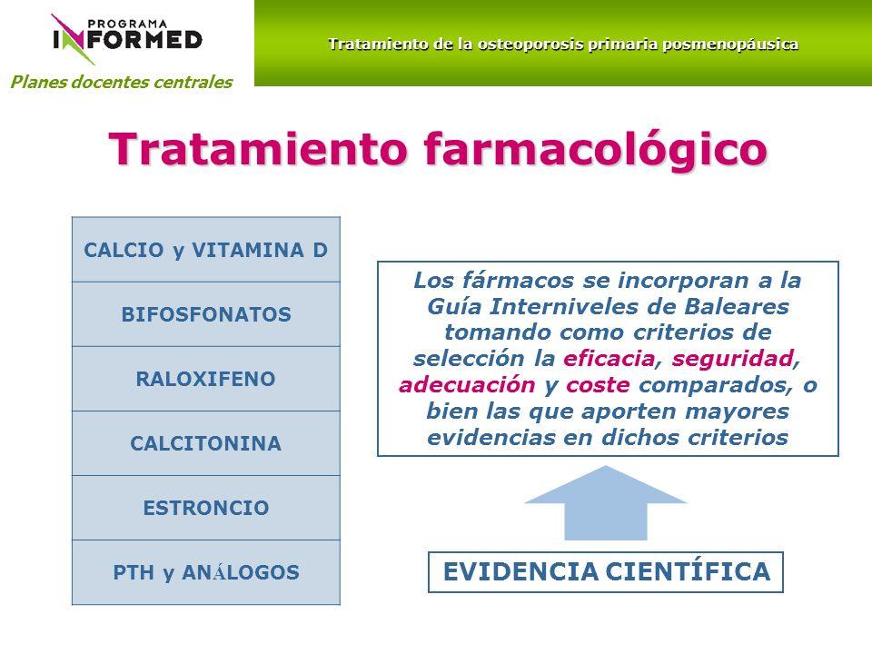 Planes docentes centrales Tratamiento farmacológico Los fármacos se incorporan a la Guía Interniveles de Baleares tomando como criterios de selección
