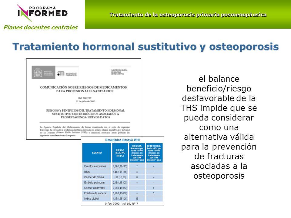 Planes docentes centrales Tratamiento hormonal sustitutivo y osteoporosis el balance beneficio/riesgo desfavorable de la THS impide que se pueda consi