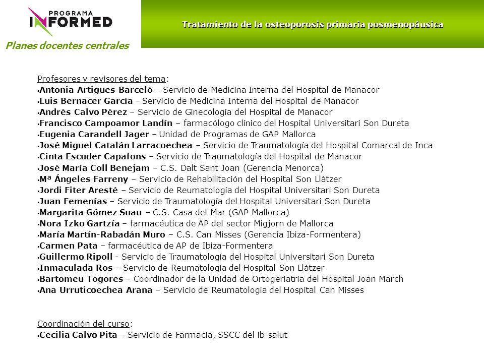 Planes docentes centrales Tratamiento de la osteoporosis primaria posmenopáusica Profesores y revisores del tema: Antonia Artigues Barceló – Servicio