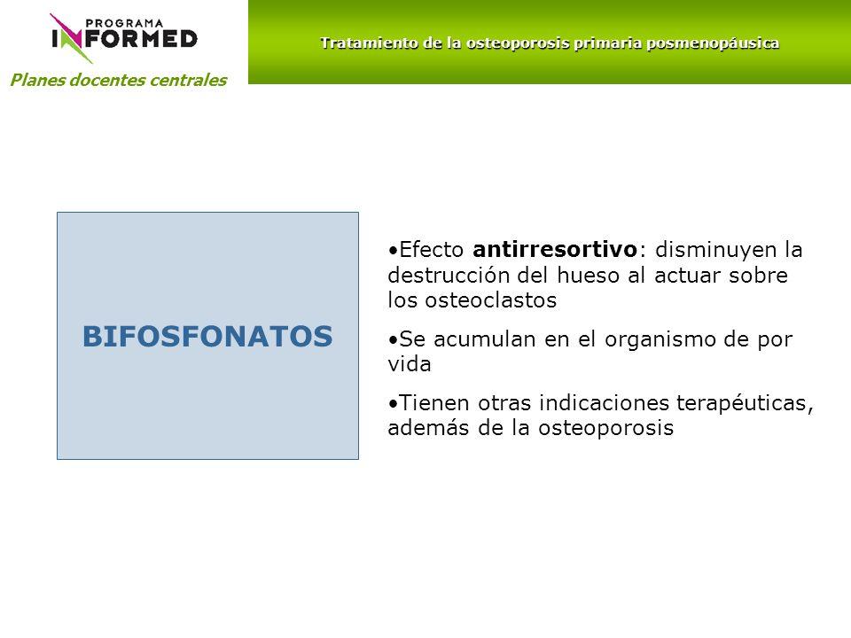 Planes docentes centrales BIFOSFONATOS Efecto antirresortivo: disminuyen la destrucción del hueso al actuar sobre los osteoclastos Se acumulan en el o