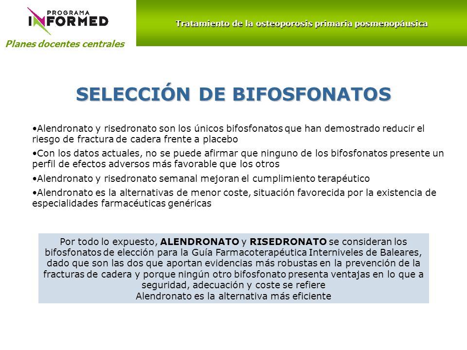 Planes docentes centrales SELECCIÓN DE BIFOSFONATOS Alendronato y risedronato son los únicos bifosfonatos que han demostrado reducir el riesgo de frac