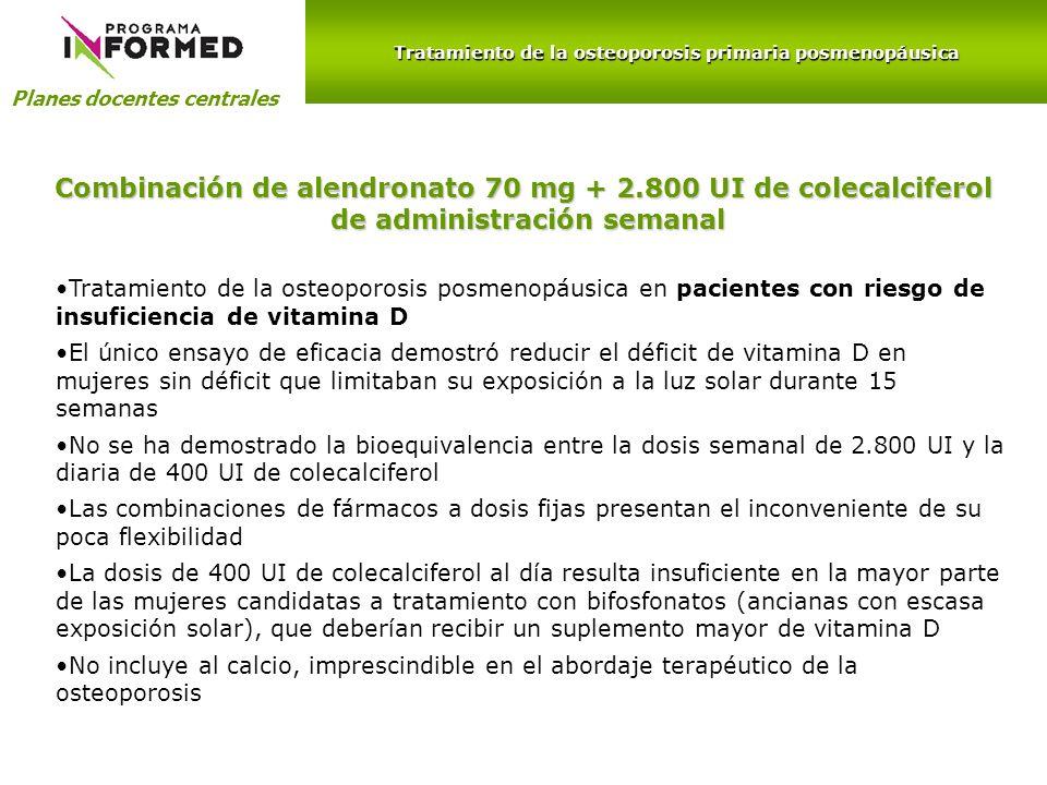 Planes docentes centrales Combinación de alendronato 70 mg + 2.800 UI de colecalciferol de administración semanal de administración semanal Tratamient