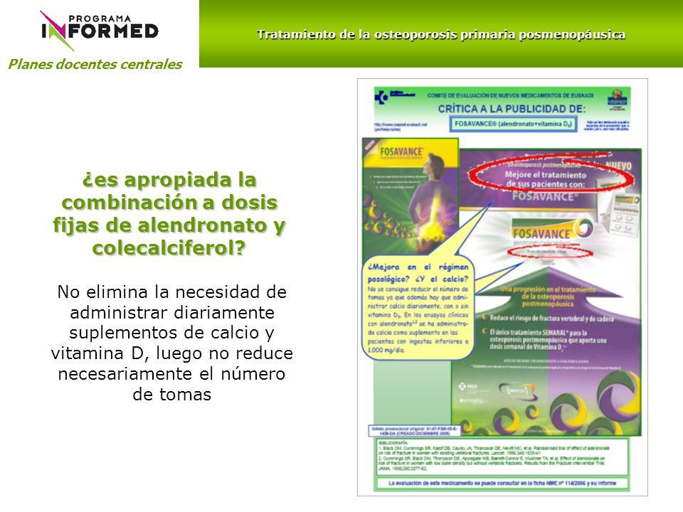 Planes docentes centrales ¿es apropiada la combinación a dosis fijas de alendronato y colecalciferol? No elimina la necesidad de administrar diariamen