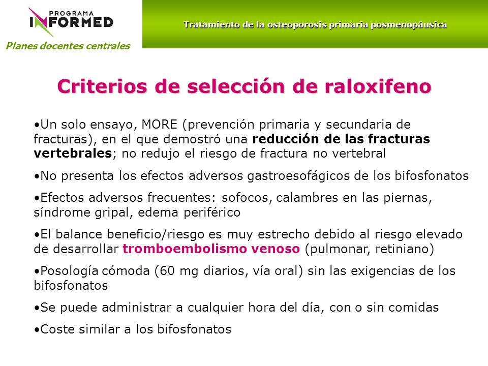 Planes docentes centrales Criterios de selección de raloxifeno Un solo ensayo, MORE (prevención primaria y secundaria de fracturas), en el que demostr