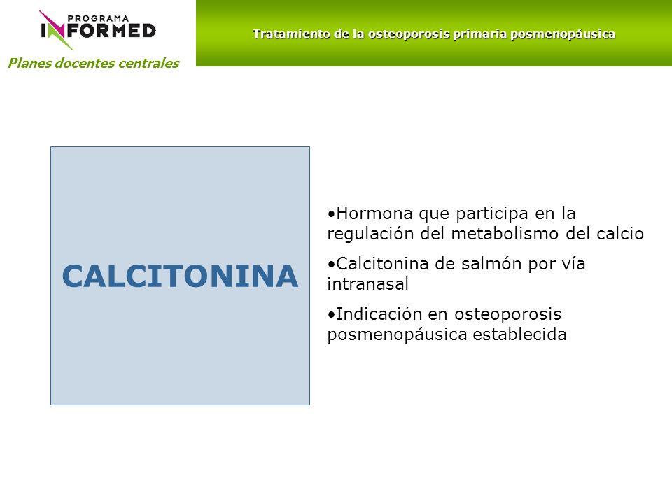 Planes docentes centrales CALCITONINA Hormona que participa en la regulación del metabolismo del calcio Calcitonina de salmón por vía intranasal Indic