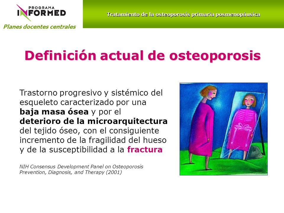 Planes docentes centrales Trastorno progresivo y sistémico del esqueleto caracterizado por una baja masa ósea y por el deterioro de la microarquitectu