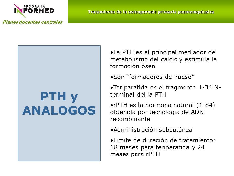 Planes docentes centrales PTH y ANALOGOS La PTH es el principal mediador del metabolismo del calcio y estimula la formación ósea Son formadores de hue