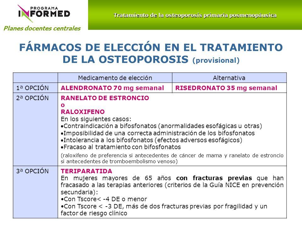 Planes docentes centrales Medicamento de elecciónAlternativa 1ª OPCIÓNALENDRONATO 70 mg semanalRISEDRONATO 35 mg semanal 2ª OPCIÓNRANELATO DE ESTRONCI