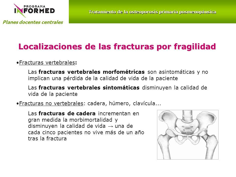 Planes docentes centrales Localizaciones de las fracturas por fragilidad Fracturas vertebrales: Las fracturas vertebrales morfométricas son asintomáti