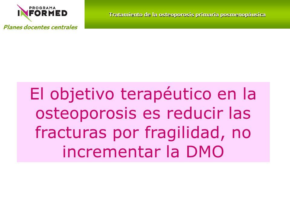 Planes docentes centrales El objetivo terapéutico en la osteoporosis es reducir las fracturas por fragilidad, no incrementar la DMO Tratamiento de la