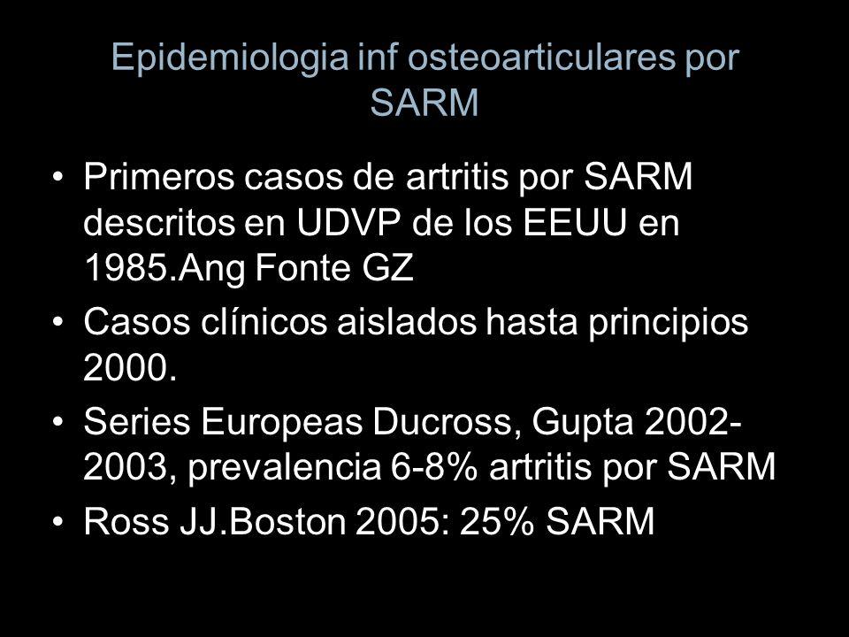 Epidemiologia inf osteoarticulares por SARM Primeros casos de artritis por SARM descritos en UDVP de los EEUU en 1985.Ang Fonte GZ Casos clínicos aisl