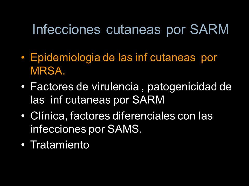 Infecciones cutaneas por SARM Epidemiologia de las inf cutaneas por MRSA. Factores de virulencia, patogenicidad de las inf cutaneas por SARM Clínica,